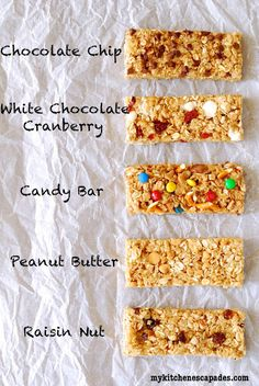 no bake granola bars--find good cherries and add to dark chocolate!  combine white chocolate & peanut butter!