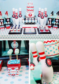 "Dessert Table with ""Gutterball Gumball"" tubes, popcorn, cake, red striped jello to match bowling pins (old pins repainted and striped with red electrical tape.)"