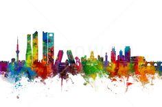 Madrid Skyline - Mural de pared y papel tapiz fotográfico - Photowall