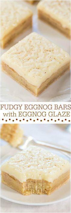Fudgy Eggnog Bars with Eggnog Glaze -  The eggnog equivalent of fudgy brownies crossed with eggnog fudge! Best use ever of eggnog!!