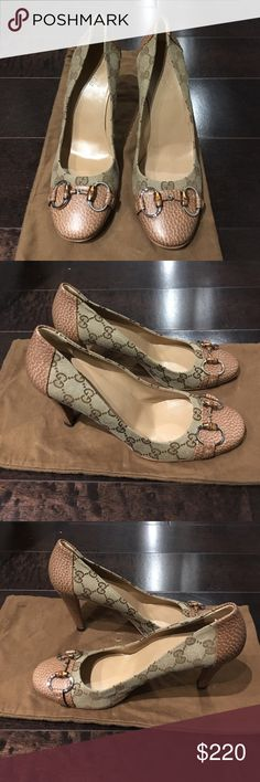 "Authentic Gucci Monogram Pumps, Size 39 Authentic Gucci Monogram Pumps, Size 39. Heel is 3.75"". Camel colored leather heel and cap toe with Bamboo Gucci buckle. EXCELLENT condition; worn twice. Made in Italy. Gucci Shoes Heels"