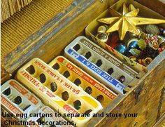 Egg cartons can be used for storage of small, fragile christmas ornaments.