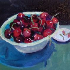 Bowl of Cherries • 5x5 • oil on canvas, painting by artist Elizabeth Fraser