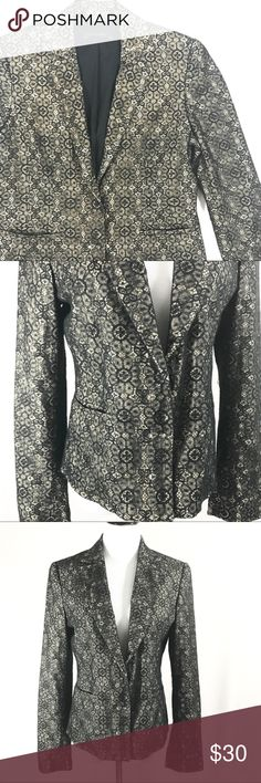 """Elie Tahari Lace Overlay Black Blazer Elie Tahari Lace Overlay Black Blazer. Two clasp buttons on the front. Two front pockets. 95% cotton, 5% nylon. Size 6. Bust measures 18"""". Length measures 25"""". Excellent preowned condition. No trades, offers welcome. Elie Tahari Jackets & Coats Blazers"""
