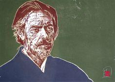 Woodcut portrait of Alan Watts (I) by German born printmaker Dirk Hagner