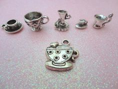The Tea Cup Collection  6 Tibetan Antique Silver by lotsofcharms, $3.00