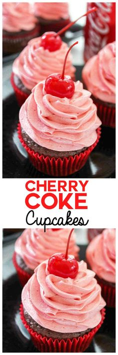 Cherry Cupcake with Cherry Coke Frosting Cherry Coke Cupcakes: The sweet taste of your favorite summer drink in just a few bites. Refresh yourself with a rich chocolate cherry cupcake with Cherry Coke in the batter AND the frosting. Frosting Recipes, Cupcake Recipes, Dessert Recipes, Coke Recipes, Buttercream Recipe, Nutella Recipes, Easy Recipes, Coke Cupcakes, Cupcake Cakes