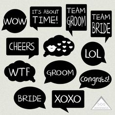 Word Bubble Photo Booth Signs, Wedding Photobooth signs, Photo Booth Props, Printable Photobooth, DIY Photo booth, wedding printables by SOSWeddings on Etsy https://www.etsy.com/listing/215052604/word-bubble-photo-booth-signs-wedding