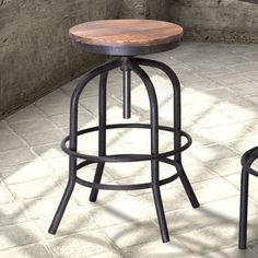 Zuo Modern Twin Peaks Adjustable Height Backless Counter Stool - Distressed Natural - 98184