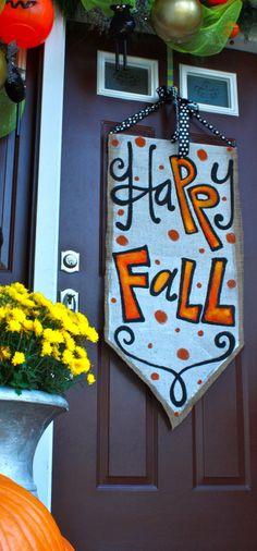 Burlap Door Hangers, Fall Door Hangers, Burlap Door Decorations, Burlap Wall, Fall Decorations, Seasonal Decor, Burlap Projects, Burlap Crafts, Fall Projects