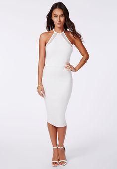 Nicole Ponte Fishnet Insert Midi Dress White - Dresses - Midi Dresses - Missguided