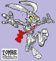 Easter Bunny Zombie Art by Rob Sacchetto