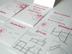 pink and grey wedding invitations by I'll Know It When I See It