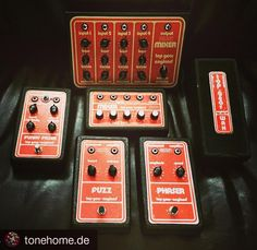 More Top Gear from @tonehome.de:  Top Gear family constantly growing no Sound Rotator and TG 55 though  #topgear #fuzz #fuzzpedal #phaser #funkyfazer #mixer #effectsdatabase #vintagepedals #vintagegear #tonehome #lucyguitar #pedalsonthesofa #pedalboardmadness #wah #topgearpedals #topgeareffects