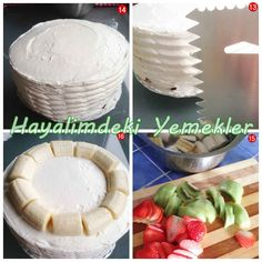 Meyveli Yaş Pasta | Resimli Yemek Tarifleri Hayalimdeki Yemekler Camembert Cheese, Serving Bowls, Tableware, Food, Dinnerware, Dishes, Meals, Bowls