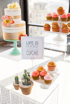 """Life is hard, eat a cupcake!"" Cute Dessert Display - Whimsy Events & Design, Forever Bride, Noah's Ark Photo."