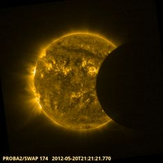 ESA's space weather microsatellite Proba-2 observed the solar eclipse on the evening of 20 May 2012. The event was used to assess the intensity of stormy 'active regions' across the Sun's face and to check the performance of Proba-2's SWAP imager.  Credits: ESA/ROB