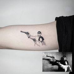 經典老電影 Leon the professional 真的非常喜歡這題材啊!! 最近出了數位修復版 沒看過的快去 Tattoo by Luis 寫實 | realiatic 插畫 | illustration 幾何 | geometry 文字 | lettering Instagram:@Luis_liangs Facebook:Luis tattooer #art #artwork #tattoo #tattoowork #ink #illustration #dotwork #blackart #blackworkers #taipei #taipeitattoo #girltattoo #girl #leon #台北刺青 #刺青女孩 Mini Tattoos, Tattoos Masculinas, Body Art Tattoos, Small Tattoos, Tattoos For Guys, Sleeve Tattoos, Cool Tattoos, Tattoo Dotwork, Et Tattoo