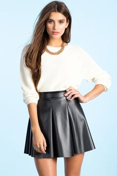 A'GACI   Julie Faux Leather Flare Skirt   #AgaciSoExclusive