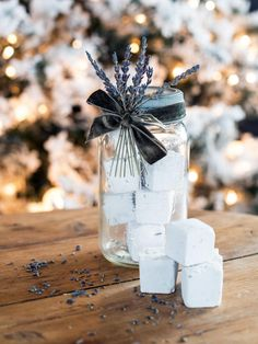 Give the gift of a luxurious home spa day with these homemade lavender bath fizzies. Package the sweet-scented bath bombs in a vintage glass jar with a custom tag for a pretty presentation sure to make the gift even more special.