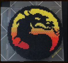 Mortal Kombat logo perler beads by otakubeadsmith