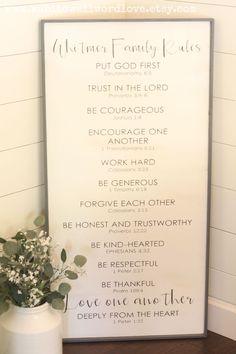 Family rules sign | customized Christian family rules sign | rustic wood family rules | custom wood sign | Bible verse family rules sign by WahlToWallWordLove on Etsy https://www.etsy.com/listing/455726322/family-rules-sign-customized-christian