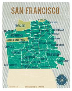 San Francisco City Map in Turquoise - Vintage Style