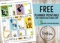 Looney Tunes Planner Printable FREE. Victoria Thatcher
