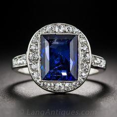 3.50 Carat No-Heat Burma, French Art Deco Sapphire and Diamond Ring - 30-1-5579 - Lang Antiques
