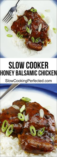 Delicious slow cooker honey balsamic chicken! Perfect for when you need to feed a crowd.