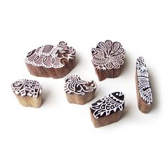 Peacock and Elephant Ethnic Pattern Wood Stamps for Printing (Set of 6)…