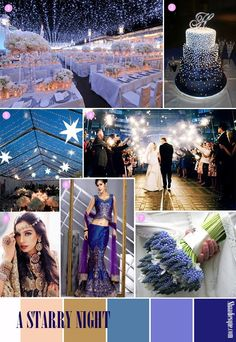 Starry Night Wedding is sooooo cute!! Not the dress...just the theme. I love the cake - purple & dark blue w/ silver stars.