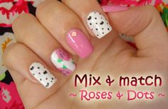 Mix and match! Free tutorial with pictures on how to paint patterned nail art in under 45 minutes by nail painting and nail painting with nail polish, nail polish, and nail polish. Inspired by floral and roses. Nail Tutorials, Nail Tech, Mix N Match, Usb Flash Drive, Roses, Nail Polish, Nail Art, Nails, Floral