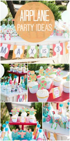 An adorable airplane birthday party for a little pilot with cupcakes, banner and party favors.  See more party ideas at CatchMyParty.com!