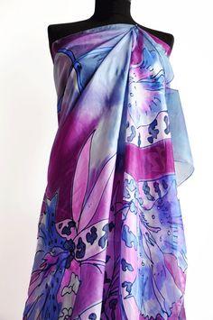 Hand Painted silk shawl Blue Purple silk shawl Woman by GABYGA