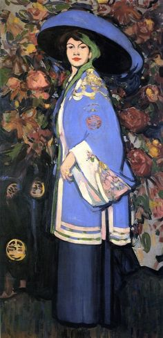 """By John Duncan Fergusson """"Le Manteau Chinois"""". The painting shows the American artist Anne Estelle Rice wearing a kimono-style jacket over a long skirt. This style was made fashionable by the Paris-based designer Paul Poiret. Woman Painting, Painting & Drawing, Figure Drawing, Charles Angrand, Illustrations, Illustration Art, John Duncan, Georges Seurat, Portraits"""