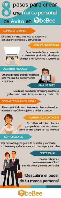 8 pasos para crear una marca personal en beBee #Infografía #RedesSociales #SocialMedia #MarcaPersonal
