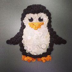 Penguin button art