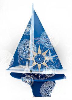 Ocean Blue. Illustration of a blue boat. Wall art print: http://fineartamerica.com/featured/ocean-blue-frank-tschakert.html