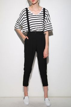 Black ankle pants with suspenders