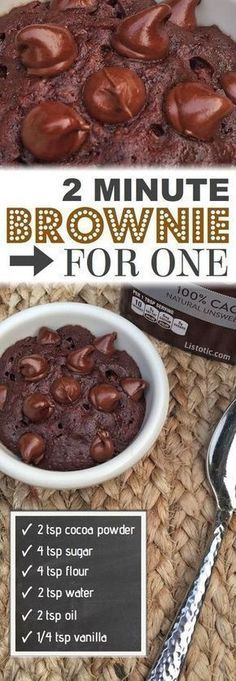 Easy 2 Minute Microwave Brownie In A Mug (or ramekin!), Desserts, The BEST easy mug cake microwave recipe -- Brownie for one! An easy single serving chocolate dessert in a mug or cup! Quick dessert recipe anyone can. Easy Microwave Desserts, Easy Chocolate Desserts, Mug Cake Microwave, Chocolate Mug Cakes, Chocolate Chips, Easy Microwave Recipes, Baking Desserts, Chocolate Smoothies, Chocolate Shakeology