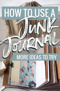 Ever wondered what the purpose of a junk journal is? This guide explains what a junk journal is and gives you several different ways to use your journal! Junk Journal, Journal Pages, Journal Ideas Smash Book, Journal Covers, Handmade Journals, Handmade Books, Handmade Rugs, Handmade Crafts, Diy Crafts