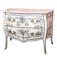 A commode with original lacquered wood and marble top