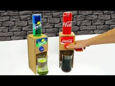 How to Make Coca Cola Sprite Dispenser at home from cardboard. In this video show you how to make this Dispenser with. Recycle Cardboard Box, Cardboard Box Crafts, Stem Projects, Science Projects, Cute Crafts, Crafts For Kids, Soda Fountain Machine, Coca Cola, Diy Gumball Machine