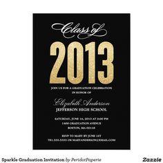 """Sparkle Graduation Invitation 5"""" X 7"""" Invitation Card #graduation #grad #gradparty"""