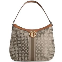 Tommy Hilfiger Maggie Monogram Jacquard Hobo ($148) ❤ liked on Polyvore featuring bags, handbags, shoulder bags, jacquard handbags, brown shoulder bag, tommy hilfiger purses, brown hobo shoulder bag and tommy hilfiger handbags