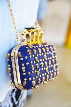 Royal Blue & Gold McQueen Clutch