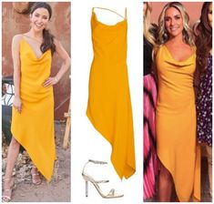 Marigold Moment // Get details on Kaitlyn Bristowe's Yellow Asymmetrical Dress with the link in our bio 📸 = @abcnetwork / Craig Sjodin Kaitlyn Bristowe, Glitter Sandals, Marigold, Asymmetrical Dress, In This Moment, Yellow, Link, Outfits, Shopping