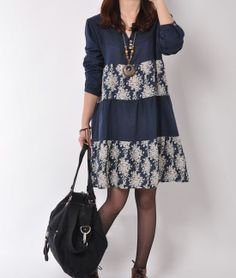 Blue 2014 spring dress cotton dress long sleeve dress casual loose dress cotton shirt large size cotton blouse plus size dress