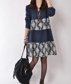 Blue 2014 spring dress cotton dress long sleeve dress casual loose dress cotton shirt large size cotton blouse plus size dress